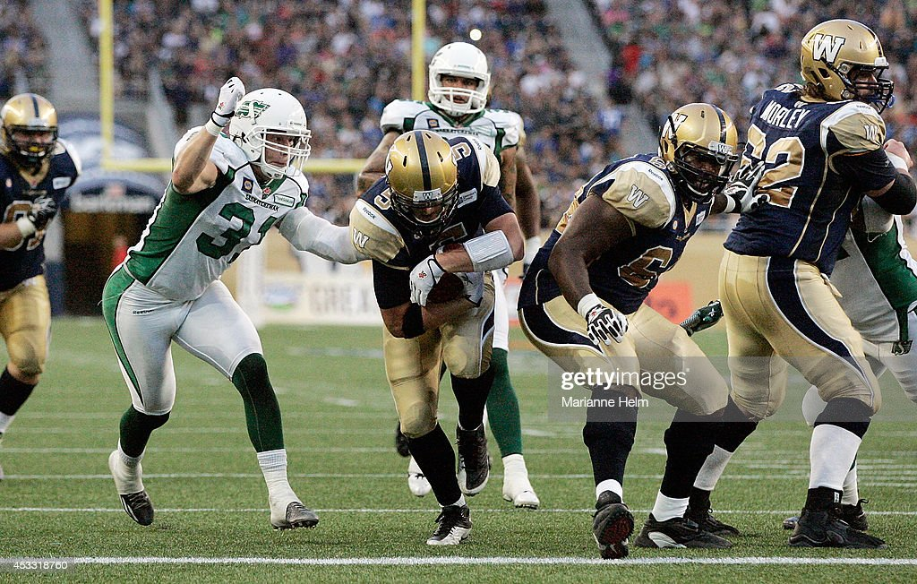 Quarterback Drew Willy #5 of the Winnipeg Blue Bombers runs in for a touchdown in first half action in a CFL game against the Saskatchewan Roughriders at Investors Group Field on August 7, 2014 in Winnipeg, Manitoba, Canada.