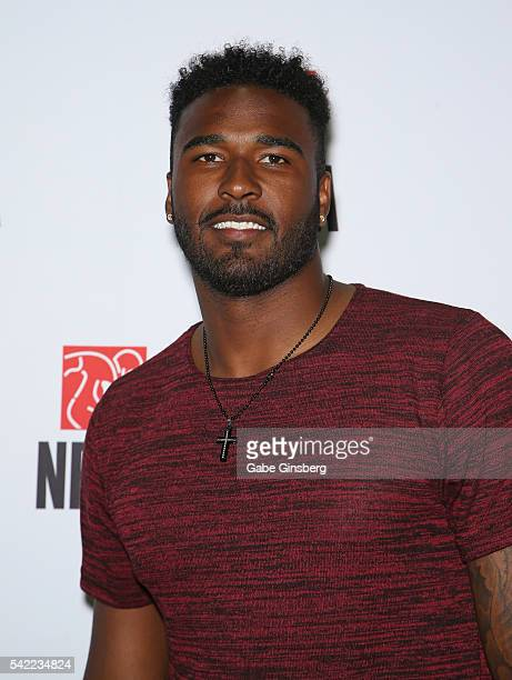 Quarterback EJ Manuel of the Buffalo Bills poses at the NFLPA Sports Activation Zone during the Licensing Expo 2016 at the Mandalay Bay Convention...