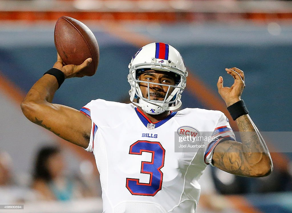 Quarterback EJ Manuel #3 of the Buffalo Bills throws during pregame workouts before the Bills met the Miami Dolphins in a game at Sun Life Stadium on November 13, 2014 in Miami Gardens, Florida.