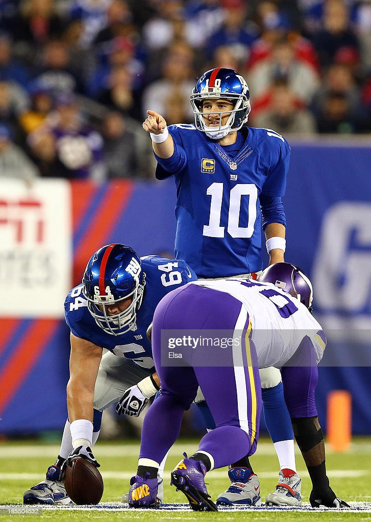 Quarterback Eli Manning #10 of the New York Giants calls a play against the Minnesota Vikings during a game at MetLife Stadium on October 21, 2013 in East Rutherford, New Jersey.