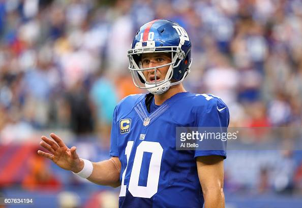 Quarterback Eli Manning of the New York Giants reacts against the New Orleans Saints during the second half at MetLife Stadium on September 18 2016...