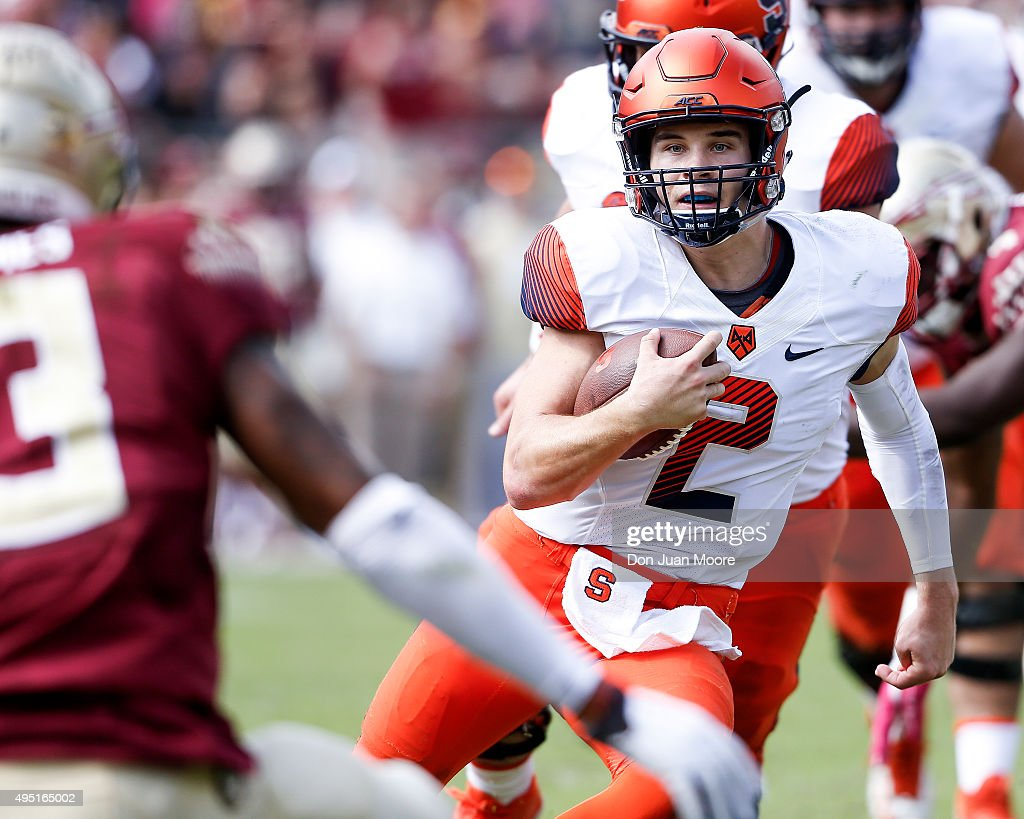 Quarterback Eric Dungey #2 of the Syracuse Orange on a running play during the game against the Florida State Seminoles at Doak Campbell Stadium on Bobby Bowden Field on October 31, 2015 in Tallahassee, Florida. Florida State defeated Syracuse 45 to 21.