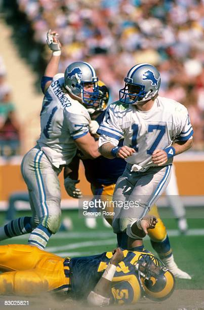 Quarterback Eric Hipple of the Detroit Lions follows through on a pass against the Los Angeles Rams during a game at Anaheim Stadium on October 19...