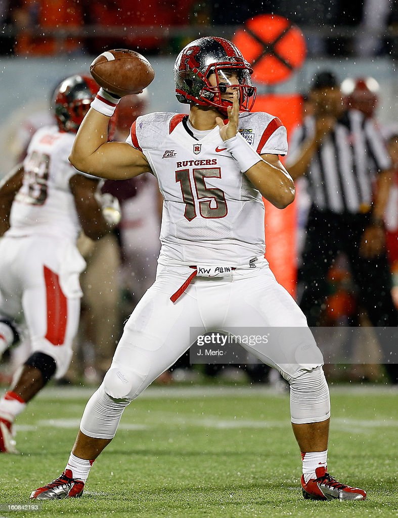 Quarterback Gary Nova #15 of the Rutgers Scarlet Knights throws a pass against the Virginia Tech Hokies during the Russell Athletic Bowl Game at the Florida Citrus Bowl on December 28, 2012 in Orlando, Florida.