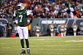 Quarterback Geno Smith of the New York Jets looks on against the Chicago Bears during a game at MetLife Stadium on September 22 2014 in East...