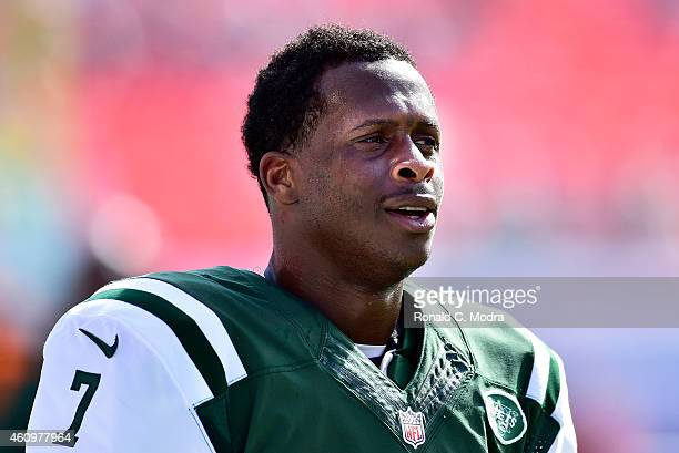 Quarterback Geno Smith of the New York Jets looks on before a game against the Miami Dolphins at Sun Life Stadium on December 28 2014 in Miami...