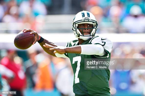 Quarterback Geno Smith of the New York Jets passes during a game against the Miami Dolphins at Sun Life Stadium on December 28 2014 in Miami Gardens...