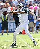 Quarterback Geno Smith of the New York Jets throws a pass against the San Diego Chargers at Qualcomm Stadium on October 5 2014 in San Diego California