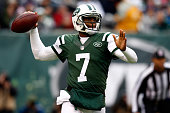 Quarterback Geno Smith of the New York Jets throws against the New England Patriots during a game at MetLife Stadium on December 21 2014 in East...