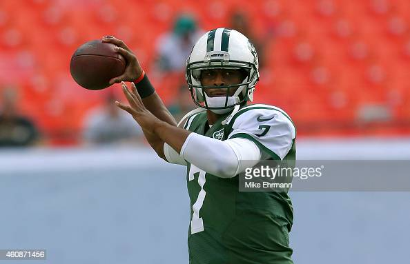 Quarterback Geno Smith of the New York Jets throws during pregame workouts before the Jets met the Miami Dolphins at Sun Life Stadium on December 28...