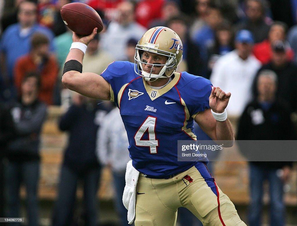 Quarterback G.J. Kinne #4 of the Tulsa Hurricanes looks to throw in ...