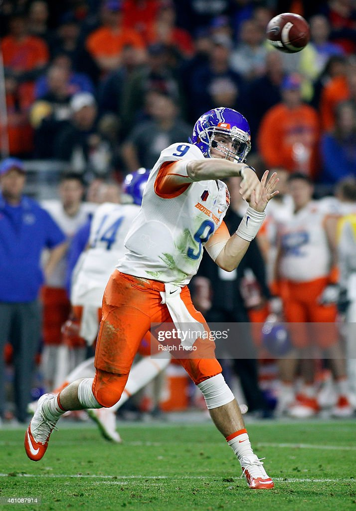 Quarterback <a gi-track='captionPersonalityLinkClicked' href=/galleries/search?phrase=Grant+Hedrick&family=editorial&specificpeople=7159943 ng-click='$event.stopPropagation()'>Grant Hedrick</a> #9 of the Boise State Broncos throws a pass against the Arizona Wildcats during the second quarter of the Vizio Fiesta Bowl at University of Phoenix Stadium on December 31, 2014 in Glendale, Arizona.