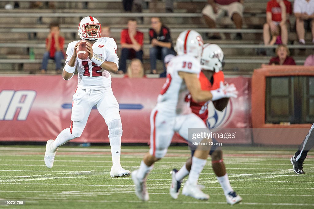 Quarterback Jacoby Brissett #12 of the North Carolina State Wolfpack looks to throw a pass during their game against the South Alabama Jaguars on September 26, 2015 at Ladd-Peebles Stadium in Mobile, Alabama.