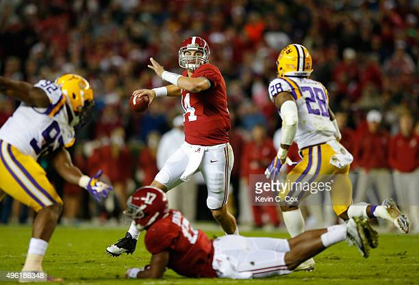 Quarterback Jake Coker of the Alabama Crimson Tide looks to pass against the LSU Tigers in the second quarter at BryantDenny Stadium on November 7...