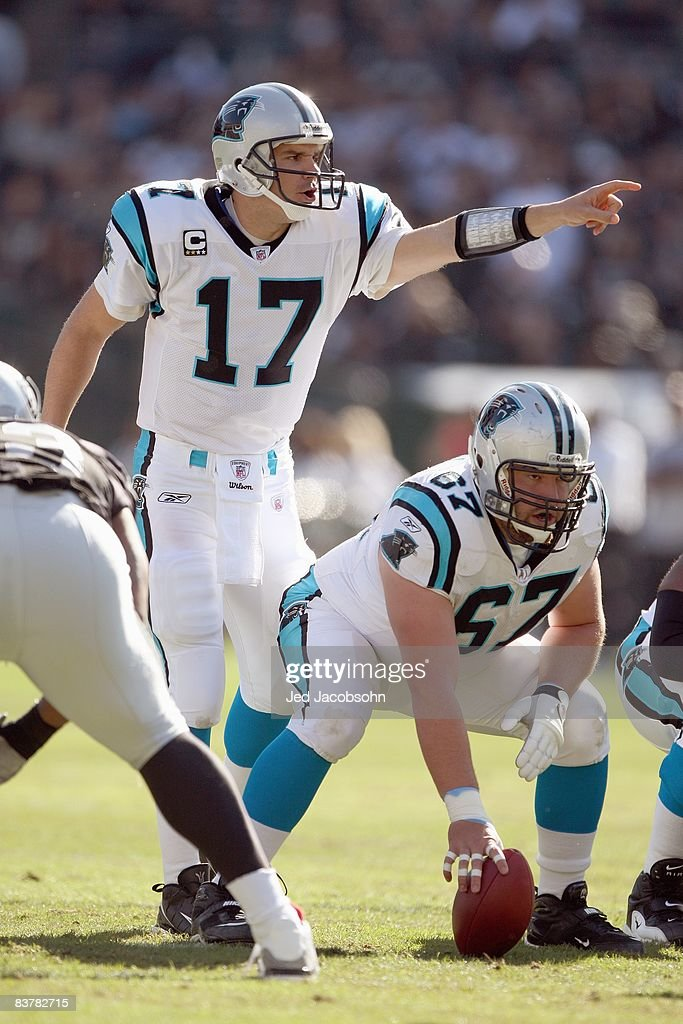 Quarterback Jake Delhomme #17 of the Carolina Panthers calls the play at the line during the game against the Oakland Raiders at the Oakland-Alameda County Coliseum on November 9, 2008 in Oakland, California.