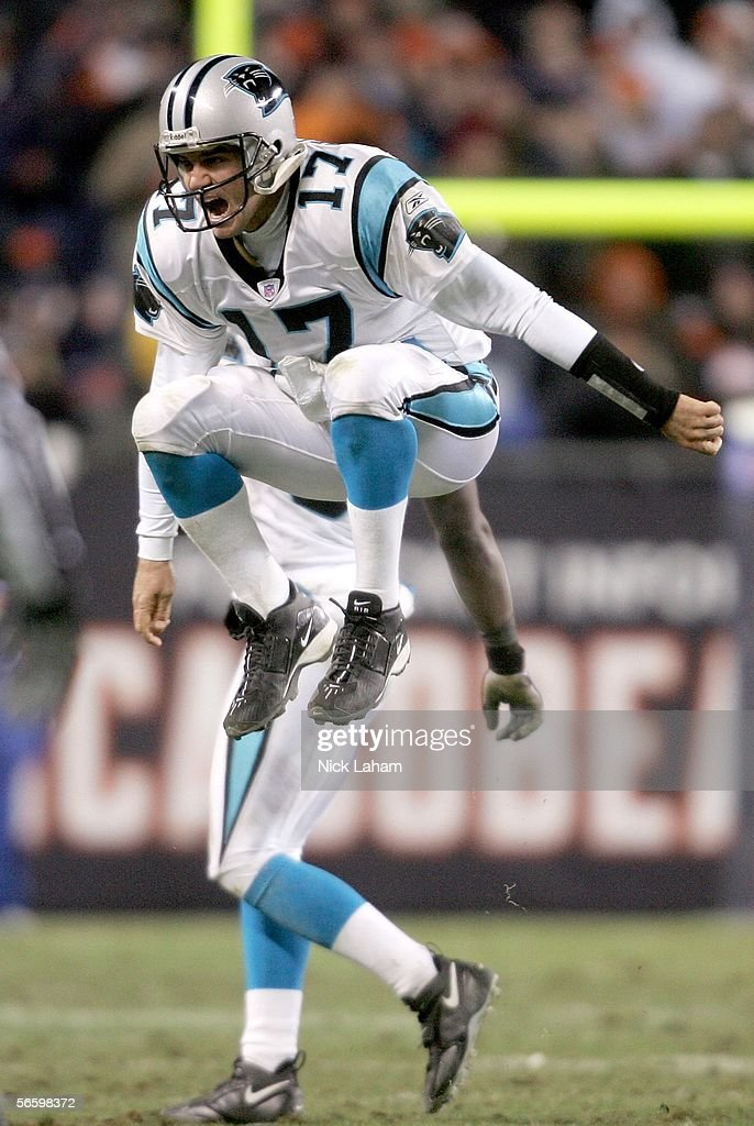 Quarterback Jake Delhomme #17 of the Carolina Panthers celebrates defeating the Chicago Bears 29-21 in the NFC Divisional playoff game at Soldier Field on January 15, 2006 in Chicago, Illinois.