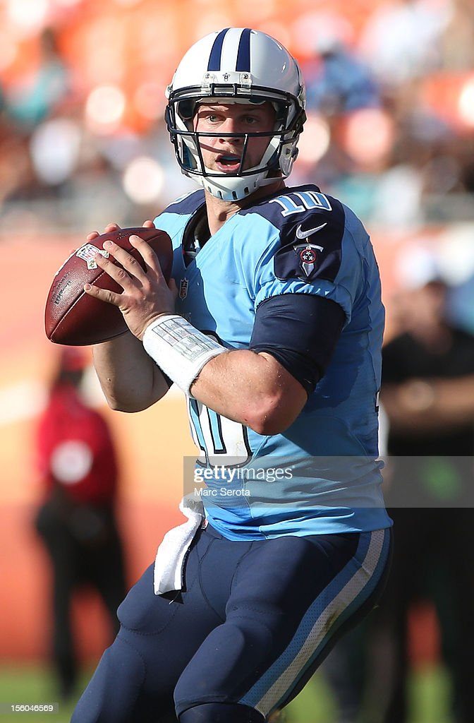 Quarterback <a gi-track='captionPersonalityLinkClicked' href=/galleries/search?phrase=Jake+Locker&family=editorial&specificpeople=4450185 ng-click='$event.stopPropagation()'>Jake Locker</a> #10 of the Tennessee Titans throws against the Miami Dolphins at Sun Life Stadium on November 11, 2012 in Miami Gardens, Florida.