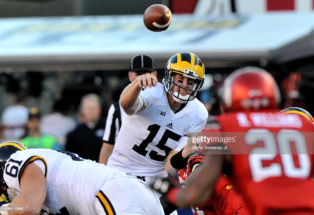 Quarterback Jake Rudock of the Michigan Wolverines throws during the first half of their game against the Utah Utes at RiceEccles Stadium on...