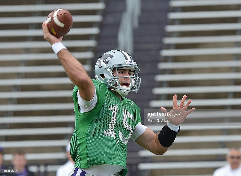 Quarterback Jake Waters #15 of the Kansas State Wildcats passes the ball down field during the Purple and White Spring Game on April 27, 2013 at Bill Snyder Family Stadium in Manhattan, Kansas.