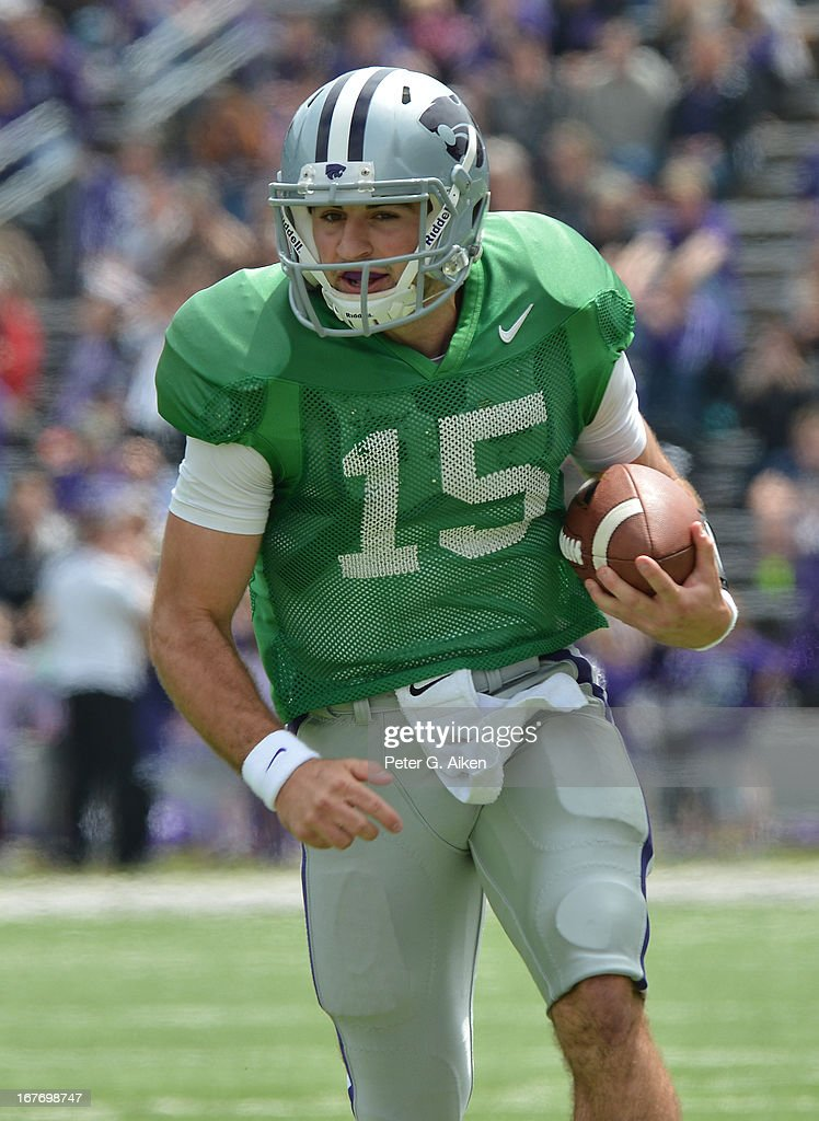 Quarterback Jake Waters #15 of the Kansas State Wildcats rushes up field during the Purple and White Spring Game on April 27, 2013 at Bill Snyder Family Stadium in Manhattan, Kansas.