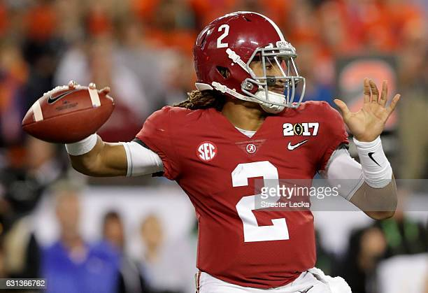 Quarterback Jalen Hurts of the Alabama Crimson Tide throws a pass during the second half against the Clemson Tigers in the 2017 College Football...