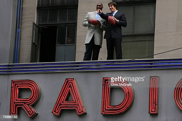 Quarterback JaMarcus Russell of Louisiana State University and quarterback Brady Quinn of Notre Dame University pose on the Radio City Music Hall...