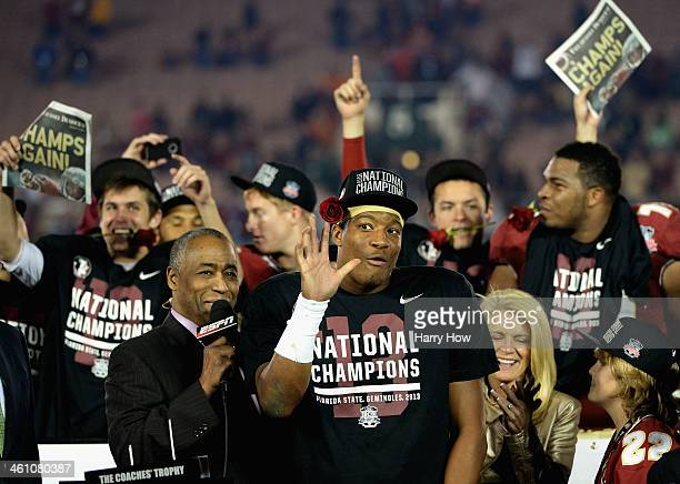 Quarterback Jameis Winston of the Florida State Seminoles celebrates after defeating the Auburn Tigers 3431 in the 2014 Vizio BCS National...