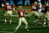 Quarterback Jameis Winston of the Florida State Seminoles drops back to pass against the Auburn Tigers during the 2014 Vizio BCS National...