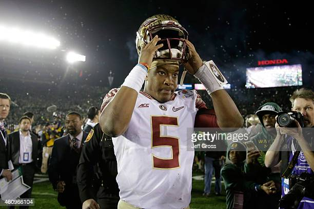 Quarterback Jameis Winston of the Florida State Seminoles reacts after losing 5920 to the Oregon Ducks in the College Football Playoff Semifinal at...