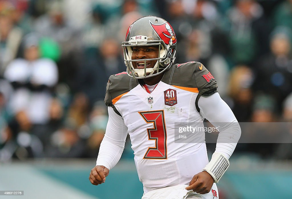 Quarterback <a gi-track='captionPersonalityLinkClicked' href='/galleries/personality/8772860' ng-click='$event.stopPropagation()'>Jameis Winston</a> #3 of the Tampa Bay Buccaneers celebrates a second quarter touchdown by teammate Russell Shepard #89 (not pictured) against the Philadelphia Eagles at Lincoln Financial Field on November 22, 2015 in Philadelphia, Pennsylvania.