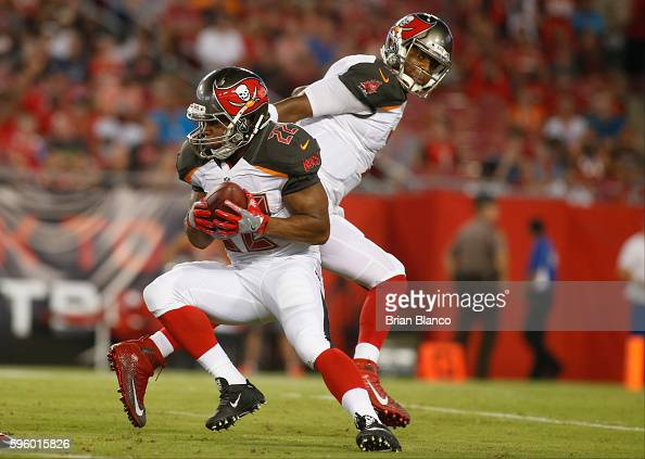 Quarterback Jameis Winston of the Tampa Bay Buccaneers hands off to running back Doug Martin during the first quarter of an NFL game against the...