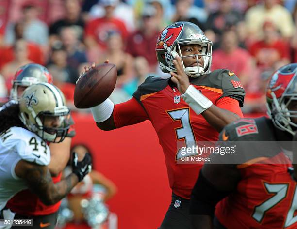Quarterback Jameis Winston of the Tampa Bay Buccaneers passes against the New Orleans Saints in the first quarter at Raymond James Stadium on...