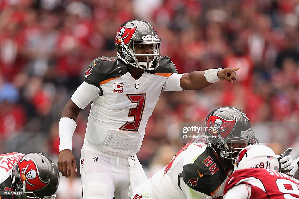 Quarterback Jameis Winston #3 of the Tampa Bay Buccaneers prepares to snap the football during the NFL game against the Arizona Cardinals at the University of Phoenix Stadium on September 18, 2016 in Glendale, Arizona. The Cardinals defeated the Buccaneers 40-7.