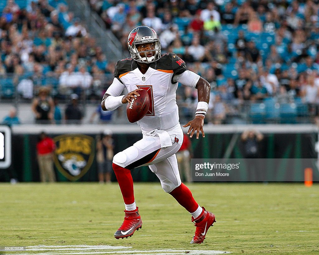 Quarterback Jameis Winston #3 of the Tampa Bay Buccaneers rows out on a passing play during a preseason game against the Jacksonville Jaguars at EverBank Field on August 20, 2016 in Jacksonville, Florida. The Bucs defeated the Jags 27 to 21.