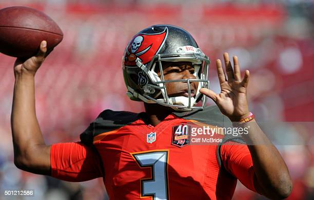 Quarterback Jameis Winston of the Tampa Bay Buccaneers throws during pregame warmup against the New Orleans Saints at Raymond James Stadium on...