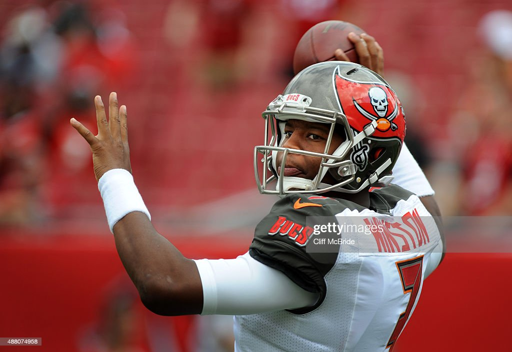 Quarterback Jameis Winston of the Tampa Bay Buccaneers throws the ball in pregame warmups prior to the game against the Tennessee Titans at Raymond...