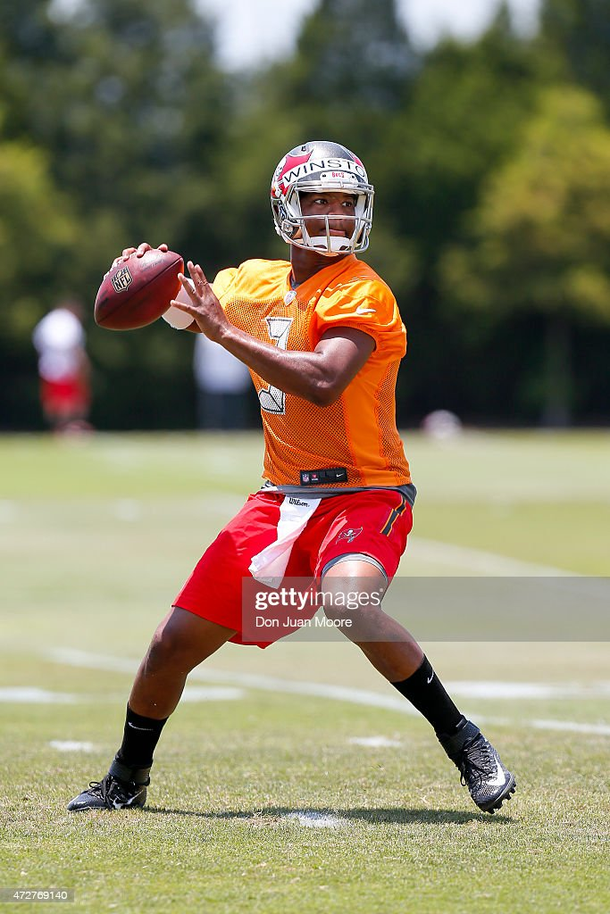 Quarterback Jameis Winston #3 of the Tampa Bay Buccaneers works out during Rookie Mini Camp at One Buccaneer Place on May 9, 2015 in Tampa, Florida.