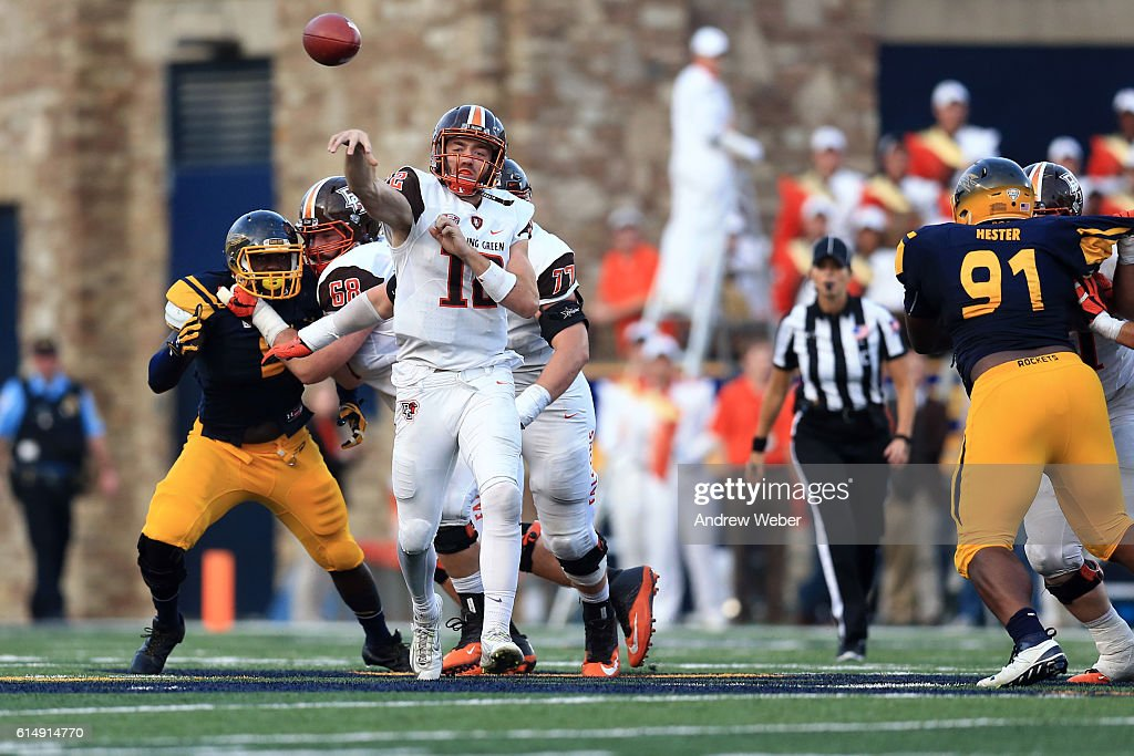 Quarterback James Morgan #12 of the Bowling Green Falcons throws a pass against Toledo Rockets during the third quarter at Glass Bowl on October 15, 2016 in Toledo, Ohio.