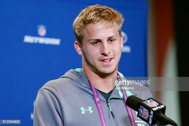 Quarterback Jared Goff of California speaks to the media during the 2016 NFL Scouting Combine at Lucas Oil Stadium on February 25 2016 in...