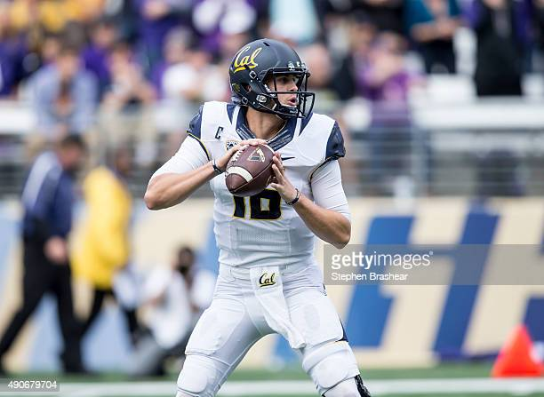 quarterback Jared Goff of the California Golden Bears drops back to pass during a game against the Washington Huskies at Husky Stadium on September...