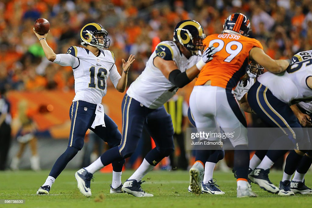 Quarterback Jared Goff #16 of the Los Angeles Rams throws a pass during the third quarter against the Denver Broncos at Sports Authority Field at Mile High on August 27, 2016 in Denver, Colorado. The Broncos defeated the Rams 17-9 in pre-season action.