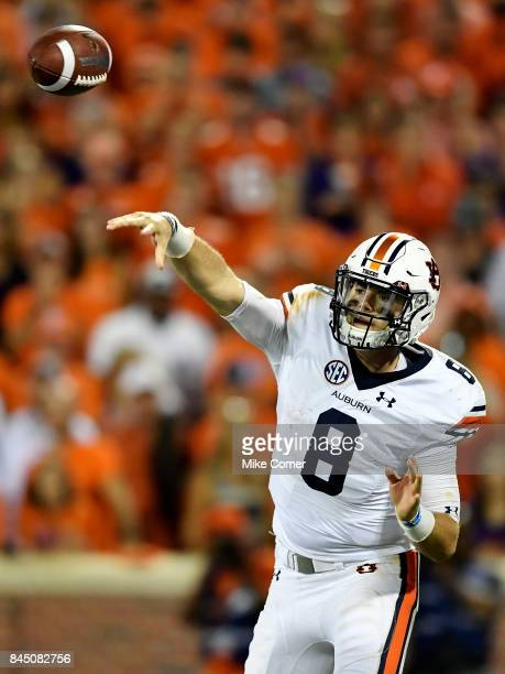 Quarterback Jarrett Stidham of the Auburn Tigers makes a pass against the Clemson Tigers during the football game at Memorial Stadium on September 9...