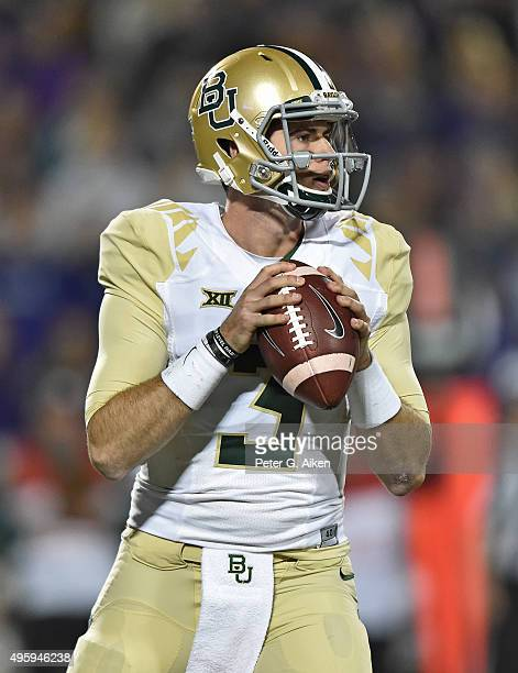 Quarterback Jarrett Stidham of the Baylor Bears back to pass against the Kansas State Wildcats during the second half on November 5 2015 at Bill...