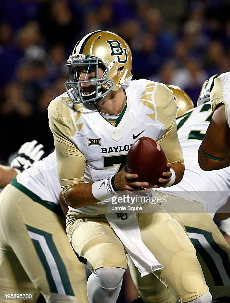 Quarterback Jarrett Stidham of the Baylor Bears in action during the 1st quarter of the game against the Kansas State Wildcats at Bill Snyder Family...