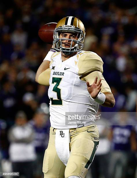 Quarterback Jarrett Stidham of the Baylor Bears passes during the 1st quarter of the game against the Kansas State Wildcats at Bill Snyder Family...
