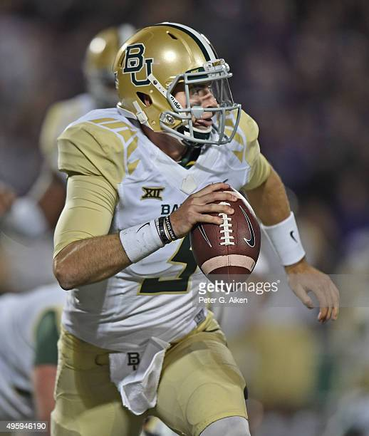 Quarterback Jarrett Stidham of the Baylor Bears scrambles against the Kansas State Wildcats during the second half on November 5 2015 at Bill Snyder...