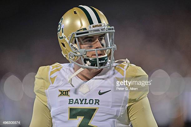 Quarterback Jarrett Stidham of the Baylor Bears works out prior to a game against the Kansas State Wildcats on November 5 2015 at Bill Snyder Family...