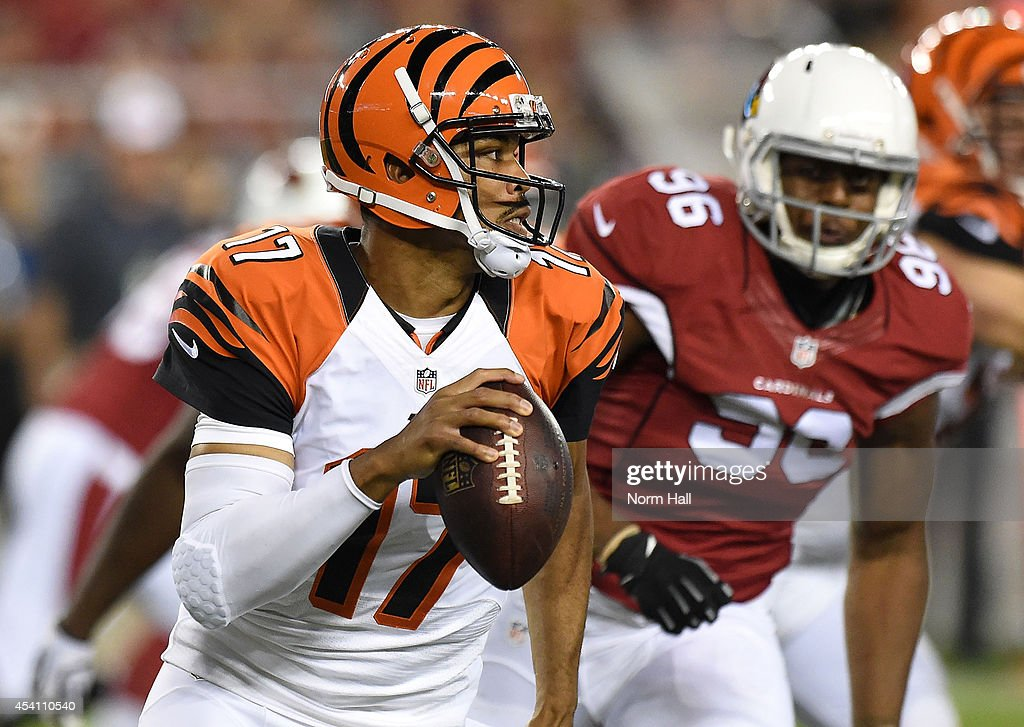 Quarterback Jason Campbell #17 of the Cincinnati Bengals drops back to pass against the Arizona Cardinals during a preseason NFL game at University of Phoenix Stadium on August 24, 2014 in Glendale, Arizona.