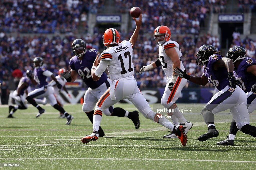 Quarterback Jason Campbell #17 of the Cleveland Browns throws a second half pass against the Baltimore Ravens at M&T Bank Stadium on September 15, 2013 in Baltimore, Maryland.