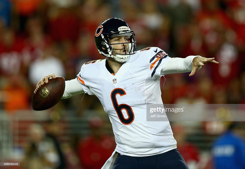 Quarterback Jay Cutler #6 of the Chicago Bears drops back to pass against the San Francisco 49ers at Levi's Stadium on September 14, 2014 in Santa Clara, California.